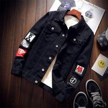 2019 New Top Quality Denim Jackets Men Cowboy Slim Fit Bomber Jacket Mens Jean Hip Hop Print Coats Chaqueta Hombre S-3XL
