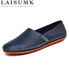 2019 LAISUMK Leather & Suede Men Loafers Genuine Brand Shoes Luxury Slip On Footwear Male Flats