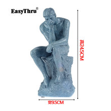 Full resin Thinker sculpture effigy meditator Works art human body model Medical teaching Human