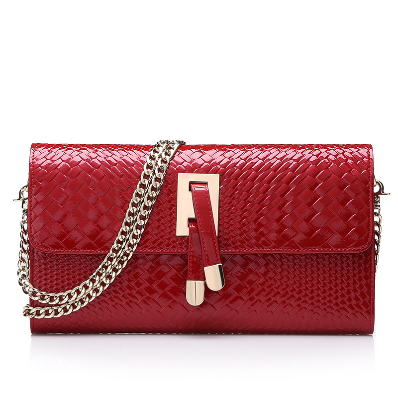Fashion Women Clutch Bag Genuine Leather Women's Flap Bag Chain Strap Female Shoulder Bag Day Crossbody Bags Knit Pattern