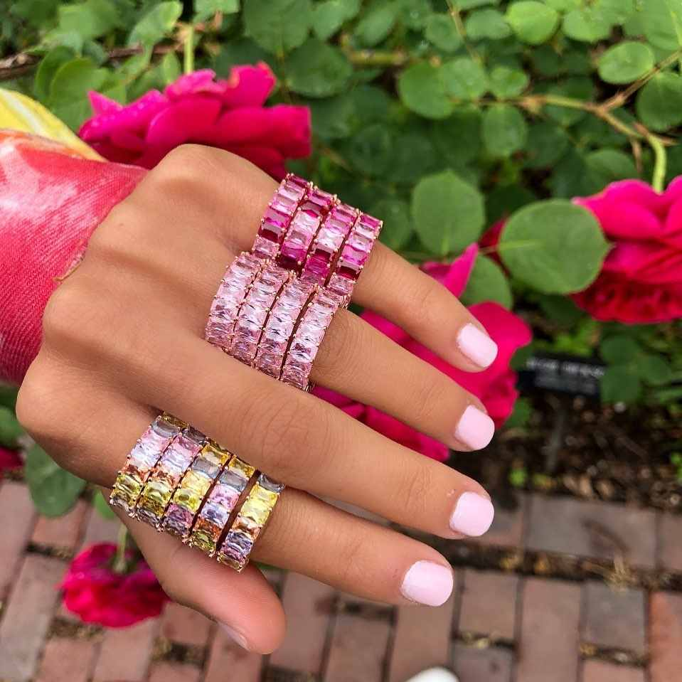 2019 colorful fashion jewelry pink pinky pastel rainbow baguette cz eternity ring engagement band rings 5 6 7 8 9