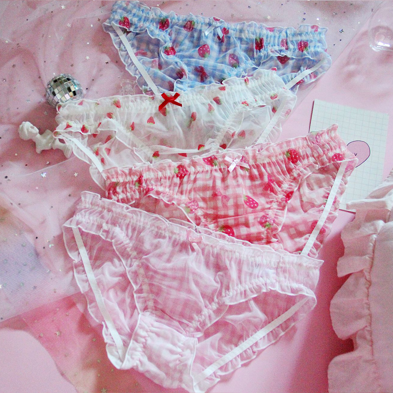 Soft Sister Sexy Lolita Cute Low Waist Chiffon Mesh   Panties   Strawberry Plaid Print Underwear Japanese Ultrathin Briefs Lingerie
