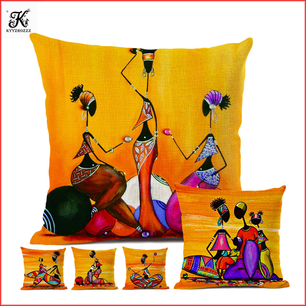 Orange Abstract Painting Africa Life Collection African Woman Home Decor Pillow Case Gallery Exotic Restaurant Cushion Cover
