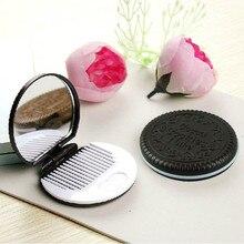 Новое поступление женских инструментов для макияжа карманное зеркало для макияжа Мини Темно-коричневое милое шоколадное печенье в форме гребня для девушек#3,14