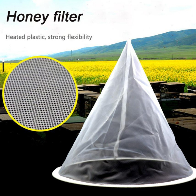 1Pcs Cone-shape Honey Strainer Filter Fiber Net Single Layer White Beekeeping Tools Purifier Apiary Equipment