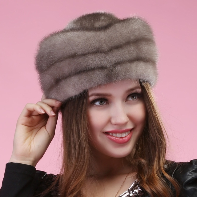 2015 otoño winter Super caliente vogue fad modo show mujeres de piel de visón estilo de rusia señora luxur sombrero de piel famosa banda nueva