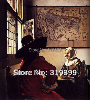 Johannes Vermeer Oil Painting Reproduction,Officer with a  Laughing Girl ,Free Shipping ,100% handmade,JV013