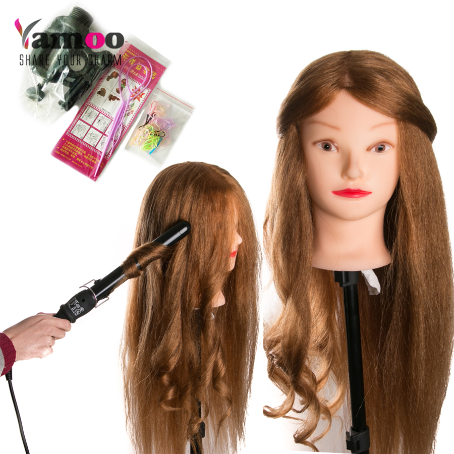 90% Animal Hair long 65 cm Training Head For Salon blonde Hairdressing Mannequin Dolls professional styling head can be curled