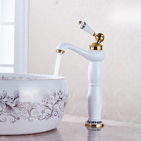 Basin Faucet Antique Hot&Cold bathroom Sink Tall Mixer Taps Single Handle Vanity Single Hole Mixer Water Taps Bathroom Basin