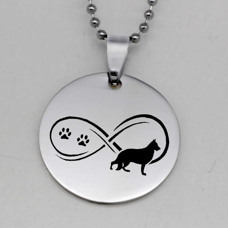 Stainless Steel Infinity Paw Print Pendant Necklace Fashion German Shepherd Dog Jewelry Gift for Women Drop Shipping YLQ6166