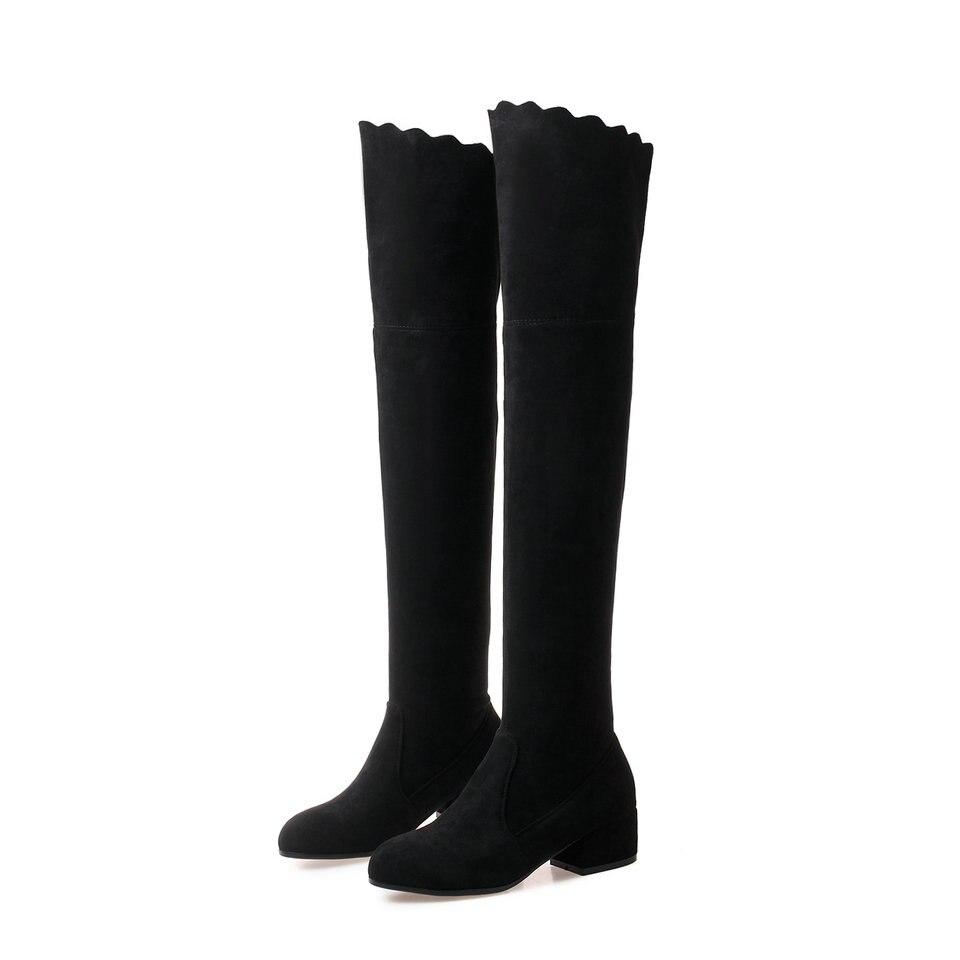 De 43 Invierno Sobre Grandes Todas Plataforma Cuadrado La 2019 34 Mujer Correspondan Rodilla Negro gris Sexy Zapatos Botas Las Tamaño Mujeres Nesimoo Tacón qRZwFxqX