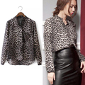 2017 Hot Korea New Women Blouse Ladies Sexy Long Sleeve Leopard Print Chiffon Blouses Blusas Tops Shirt  Lady Sexy brand Top