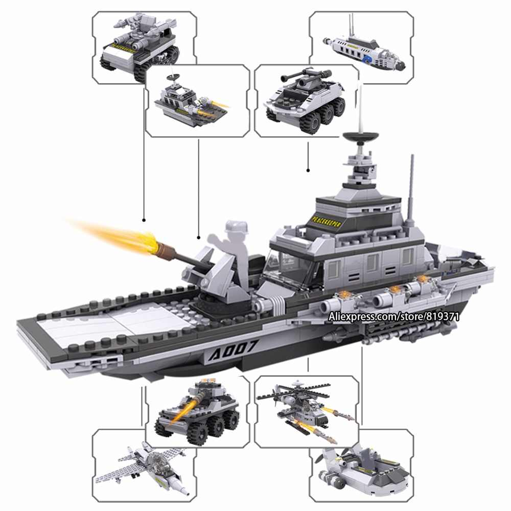 27 in 1 Army Warships Destroyer Tank Military Bricks Building Blocks Educational Toys for Kids Compatible with legoeINGlys 13007