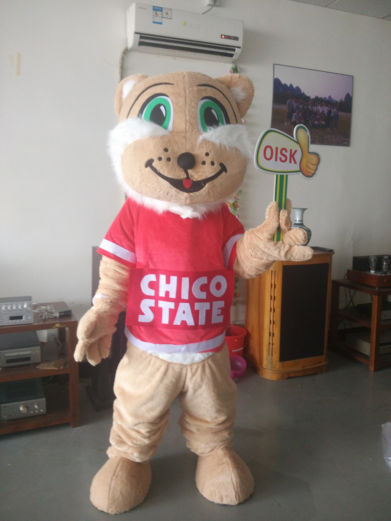ohlees cheap actual picture Custom made Cartoon wildcat sport Mascot costumes for Halloween party activity Fancy dress