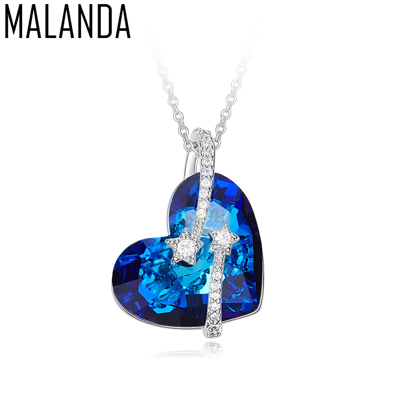 MALANDA 2018 New Classic Heart Shaped Crystal From Swarovski Zircon Pendant Necklaces For Women Fashion lady Jewelry Lover Gift