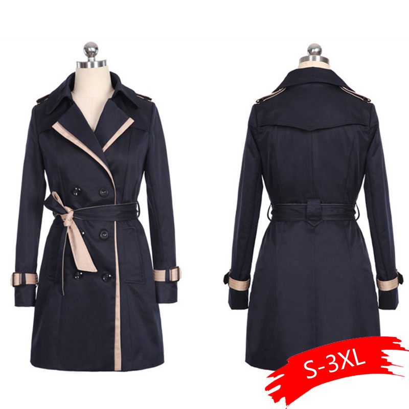 2019 Autumn Women Double Breasted Long   Trench   Coat Khaki With Belt Classic Casual Office Lady Business Outwear Fall