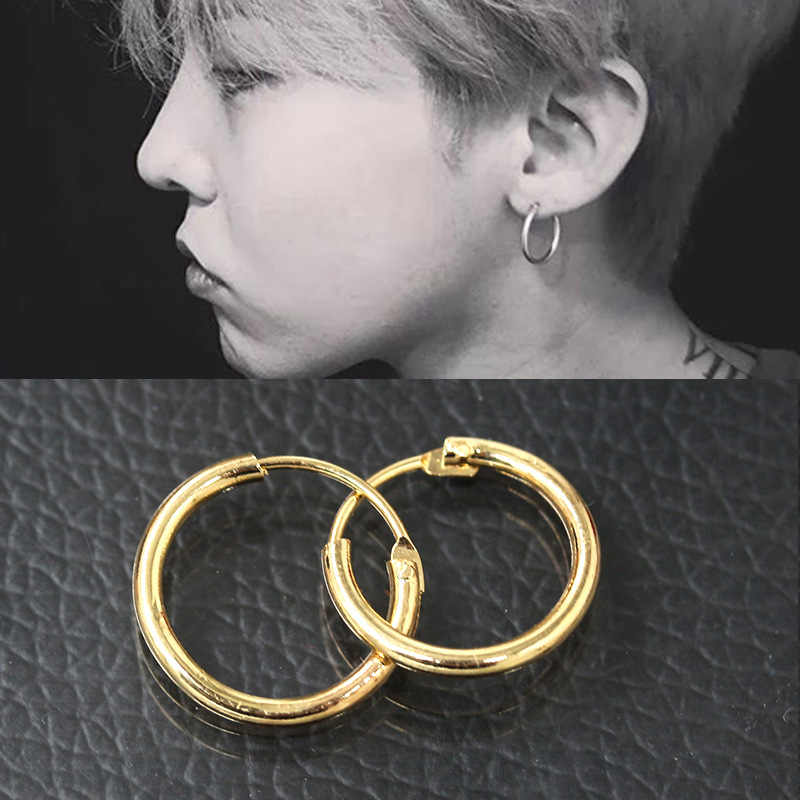 2018 Hot Men Women Smooth Round Circle Earring Small Loop Hoop Earrings Gold Color Silver Huggie Jewelry Simple Ear Accessories