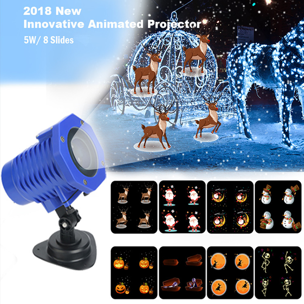 New! Animated Led Projector Light High brightness 5W Sata Elk Patterns Waterproof IP65 For Christmas Halloween Party Holiday christmas elk print polyester waterproof shower curtain