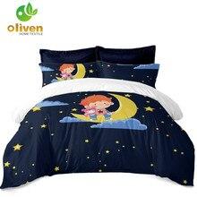 Dark Blue Cartoon Bedding Set Little Prince Moon Stars Duvet Cover Kids Pillowcase Home Decor D35