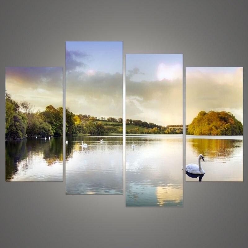 (Bez rámu) 4 ks labuť jezero moderní domácí nástěnná malba plátno Picture Art HD Tisk modulárních obrazů Sada 4 uměleckých plátnů