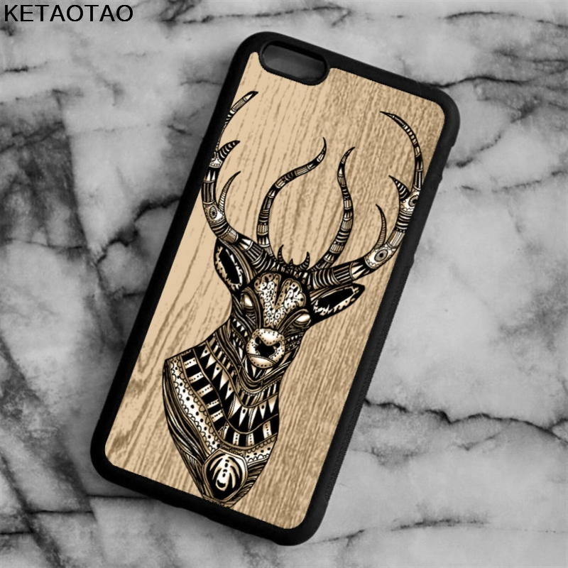 KETAOTAO Deer stag head animal aztec Phone Cases for iPhone 4S 5S 6 6S 7 8 X PLUS for Samsung S7 8 Case Soft TPU Rubber Silicone