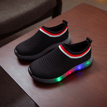 New Fashion LED lighting kids casual shoes soft slip on children sneakers breath