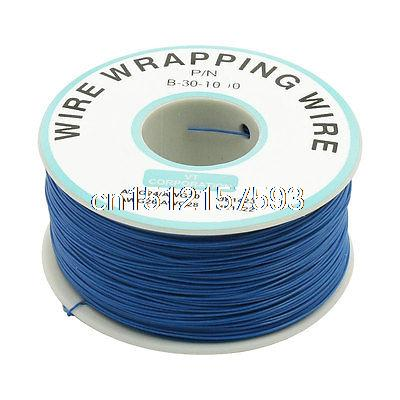 200M 30AWG Tin Plated Copper Wire Insulation Test Wrapping Cable Roll Blue new 30awg 0 25mm tin plated copper wire wrapping insulation test cable 8 colored wrap reel tin plated copper plastic