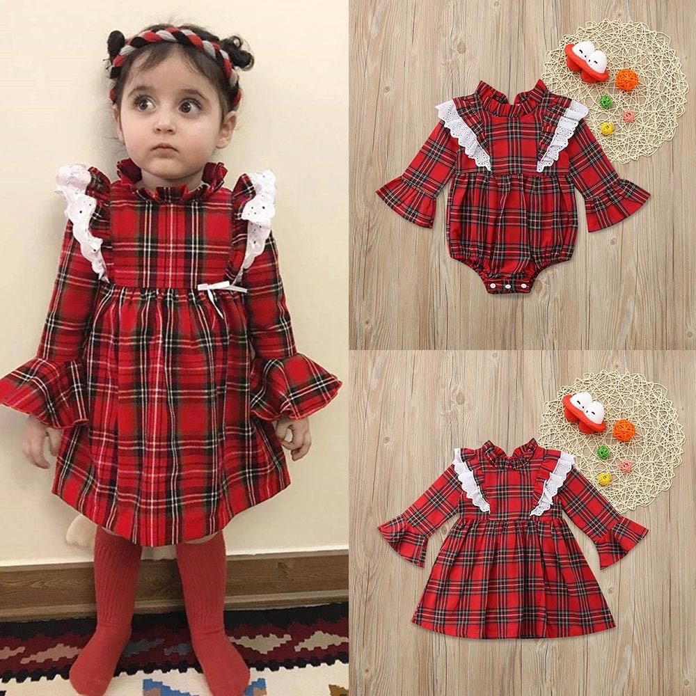 Newborn Kids Baby Girls Dresses Little Baby Sister Lace Plaid Princess  Bodysuits Dress Cute Baby Kids d6a978814e18