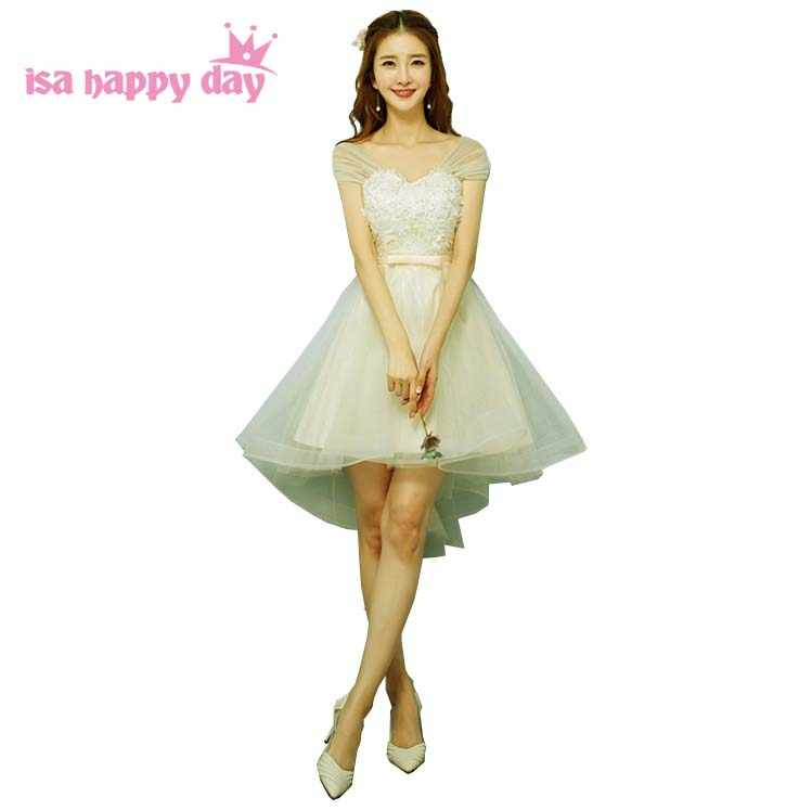 ebb73e9d1f9d2 country off shoulder girls short front long back champagne lace up  bridesmaid dresses gown high low dress ball low back H4267