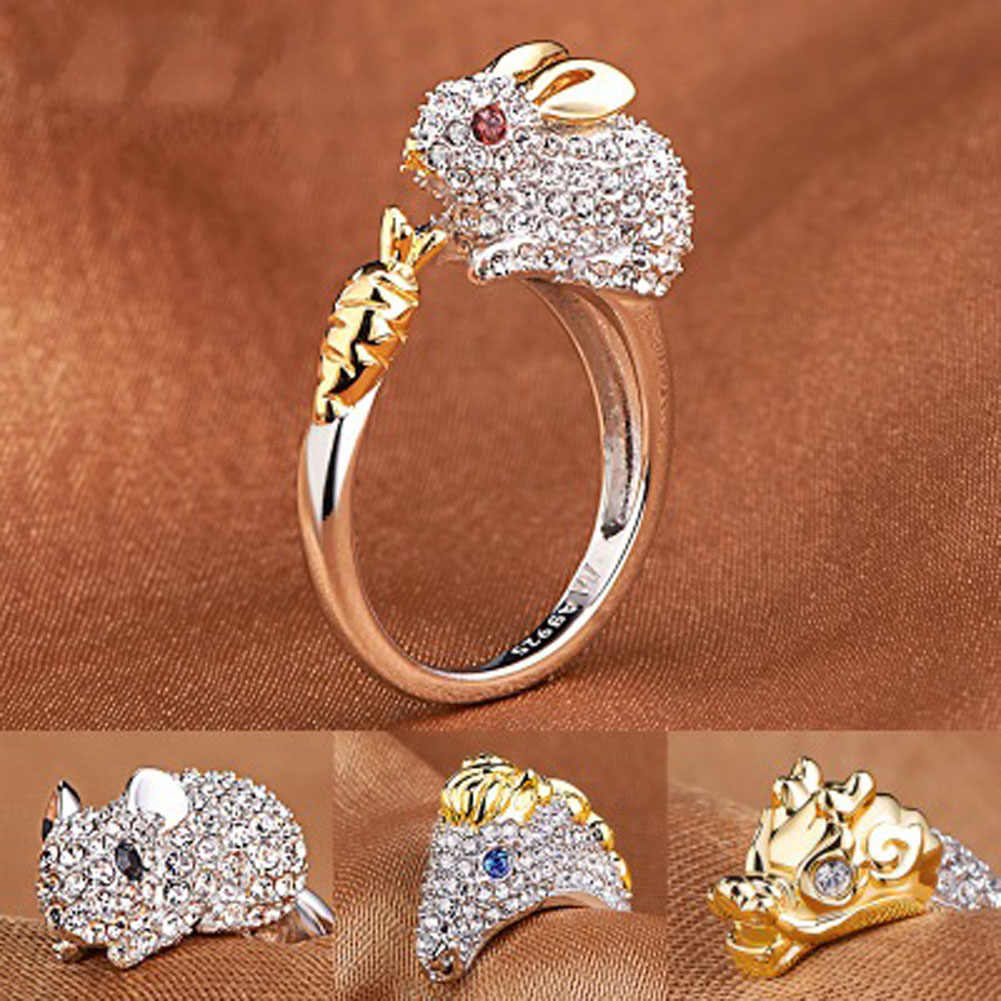 2019 cute Fashion Chinese Zodiac Retro Rings Animals Index Finger Opeing Rings For Women Girls Gift rhinestone rings 1pc