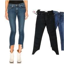 Модные женские Асимметричный манжеты обтягивающие джинсы штаны in MID WASH
