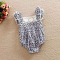 Hot Baby Girls Print Flower rompers For Height 60-110cm Cute Floral lace Jumpsuits Baby summer Overalls Infant Toddler clothing