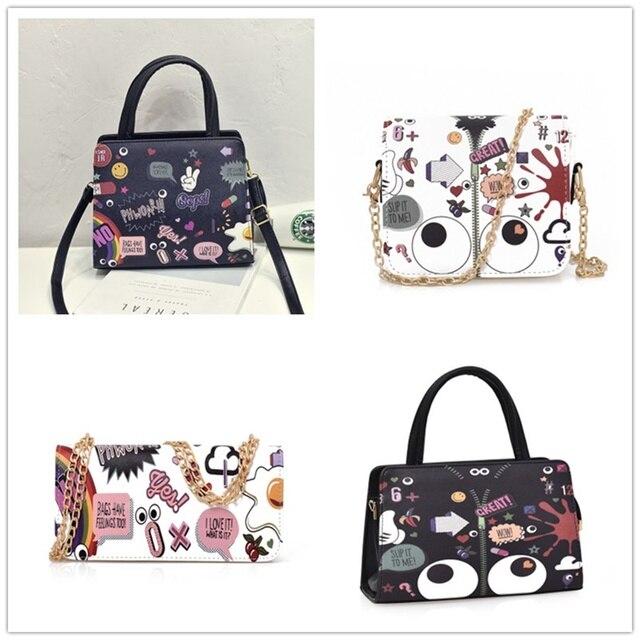 SWDF-Women Handbag 20 Cartoon Types Designer Woman Graffiti Printing Tote Bag Ladies Small Shoulder Bags Eyes Crossbody Bag