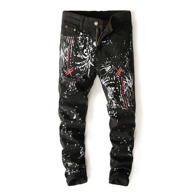 New Stylish Mens Designer Painted Nightclub Swag Black Print Spider Jeans Cool Streetwear Trousers Embroidery Casual Pants