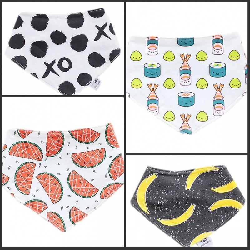 Baby Bibs Fluorescent Whitening Free Newborn Triangle Cotton Bibs Quality Burp Cloths Infant Scarf Animal Cartoon Pattern