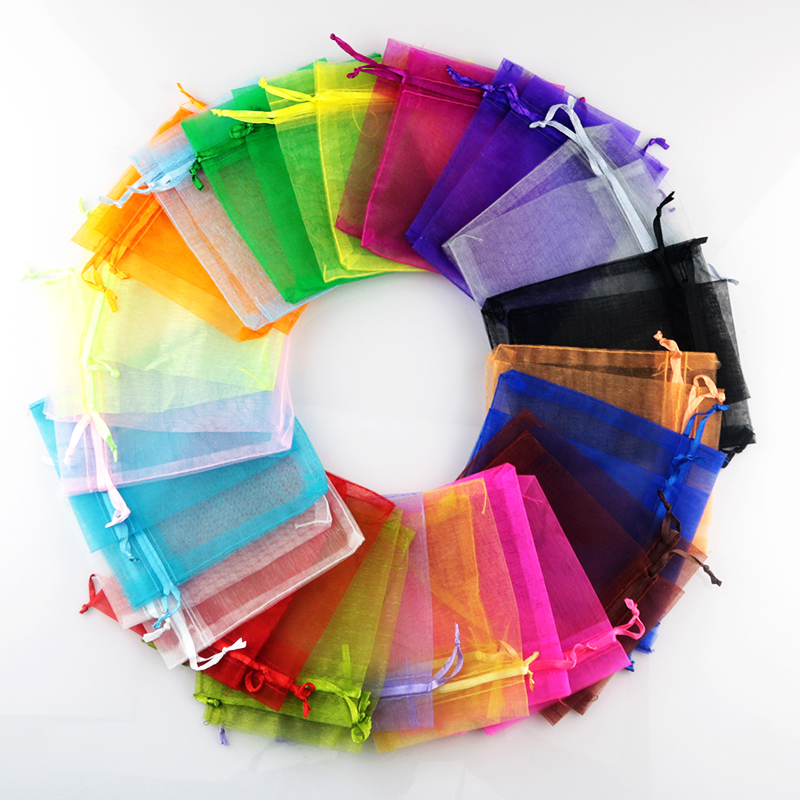 Random Mixed Color 1000pcs Drawable Organza Bags 9x12cm Favor Wedding Christmas Gift Bag Jewelry Packaging Bags