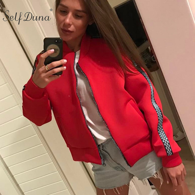 Self Duna 2019 Autumn Winter Women Red Bomber   Jacket   Coat Plaid Pilot   Jacket   Zipper Loose Casual Baseball   Basic     Jackets
