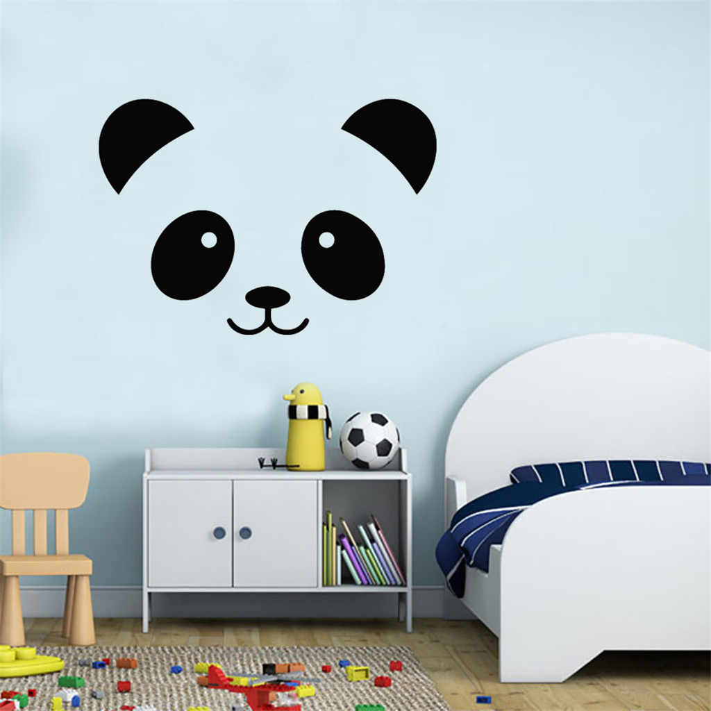 KAKUDER Wall Stickers Black Panda Face Removable Art DIY Vinyl Wall Stickers Decoration Living Room Bedroom Mural Decal 35.MAR.1