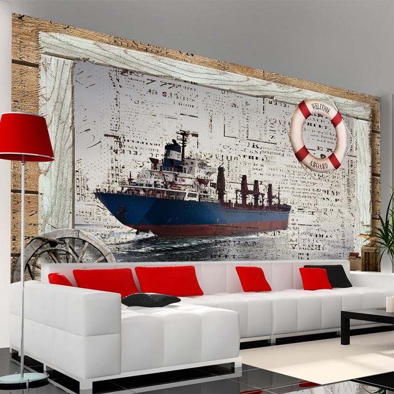 Free Shipping Large TV background wall mural non-woven bedroom living room wallpaper European modern 3D ship wallpaper mural  free shipping 3d wall breaking basketball background wall bedroom living room studio mural home decoration wallpaper
