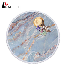 Miracille Marble Large Round Beach Towels For Adults Woman Microfiber Tassel Blanket Yoga Mat 150cm Summer Holiday