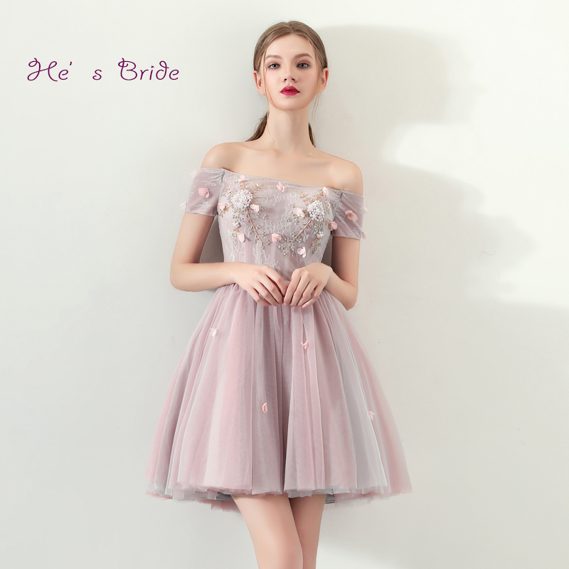 He's Bride Pink New Elegant Cocktail Dress Strapless Short Sleeves Ball Gown Appliques Knee-length Flowers Party Formal Vestidos