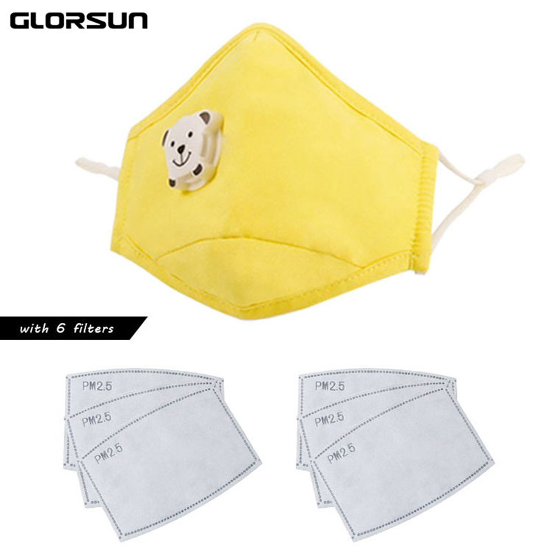 GLORSUN Healthy Cute Kids Mask PM 2.5 Anti-dust Activated Cotton Anti Haze Mask Carbon Filter Mouth-muffle Flu Face Masks N95
