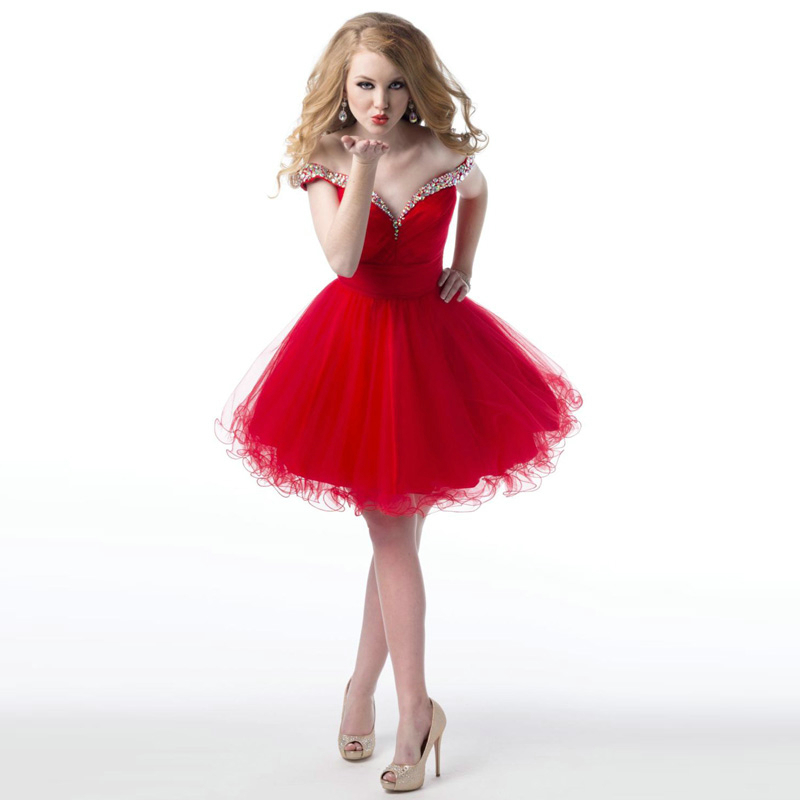 Sexy V Neck Crystal Hot Sale Junior Prom Dresses Red Short Prom Dress A Line Party Gown