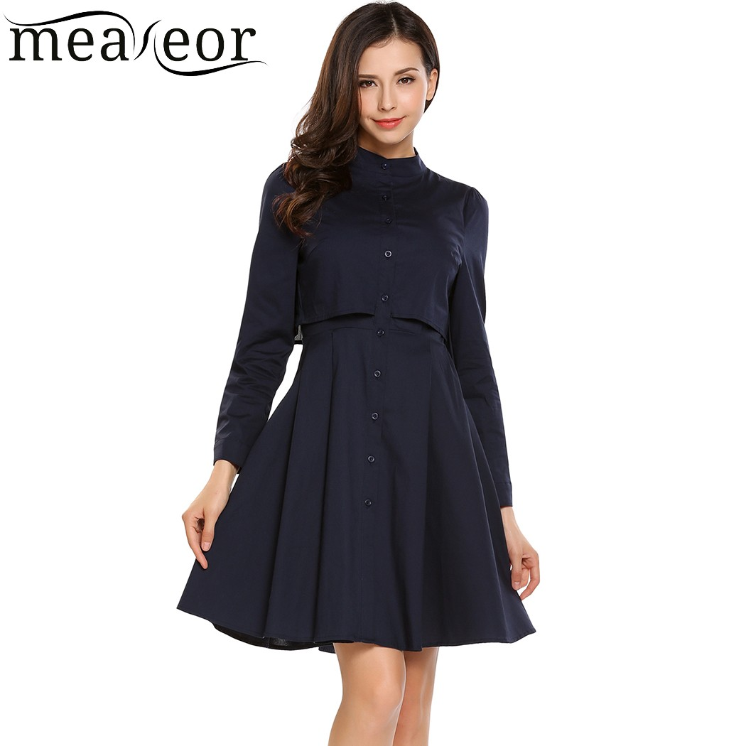 Meaneor Stand Collar Long Sleeve Solid Women Dress with Button Front Ruched Slim Mini Autumn Party Dress Vestidos