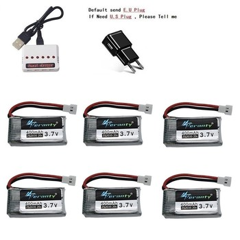 3.7V 400mah Battery And 6-Port Charger For SYMA X15 X5A-1 X15C X15W H31 X4 H107 KY101 E33C E33 U816A V252 H6C RC Spare Parts