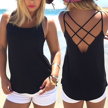 High Quality Women Summer Soild Colors Sleeveless Spaghetti Strap Solid Hollow Out Thin Cool Loose Charming Sun-Top Sexy Vest