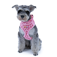 Durable Pet Harness Dog Cat Cotton Pink Beige Leopard Adjustable Collar Puppy Leash Harness Set Kitten