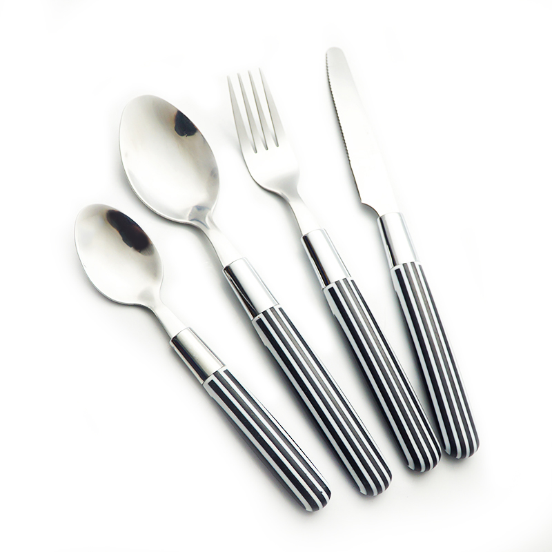 High quality new stirp black handle plastic cutlery set stainless steel dinnerware 24 pieces fork spoon