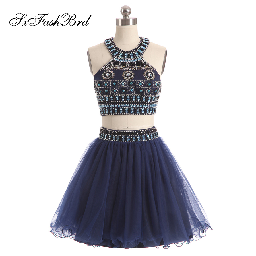 Vestido Largo O Neck With Beading Crop Top A Line Mini Short Formal Elegant   Dresses   Women Evening Party Two Pieces   Prom     Dress