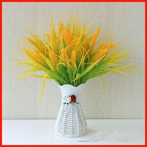 10 Uds plástico 7 tenedor primavera plantas de césped Artificial para flores de trigo de simulación casa Hotel tienda Decoración